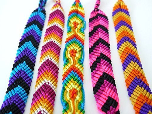 Assorted Colors Pack of 25 Cotton Bracelets Woven Pattern Adjustable One Size From Peru