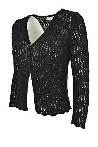 Nero Scollo Cardigan Vestibilità Puro Maglia V asciutta Cotone Nero Donna a Traforato aIwI5Fq