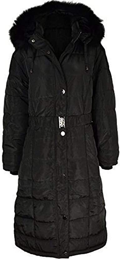 Fashion Thirsty Ladies Womens Plus Size Fur Hooded Winter Coat Quilted Padded Puffa Parka Jacket