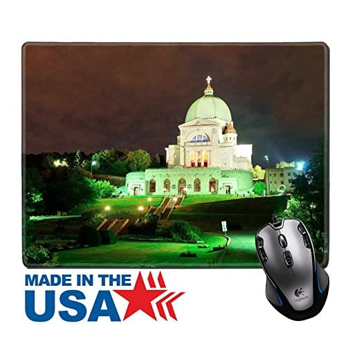 """MSD Natural Rubber Mouse Pad/Mat with Stitched Edges 9.8"""" x 7.9"""" St Joseph s Oratory at night in Montreal in Canada IMAGE 20109918 delicate"""