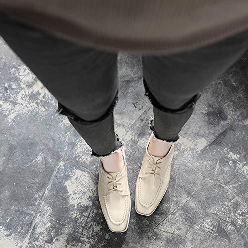Shoes Autunno Wedges Head Scarpe Women'S Apricot Square Da Strap Wild Casual Platform Tacchi Thick Donna alti Platform Scarpe Spessa Yukun Impermeabile Soled Suola pwqAt7n