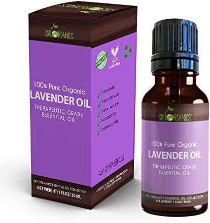 Best Lavender Essential Oil By Sky Organics-100% Organic, Pure Therapeutic French Lavender Oil For Diffuser, Aromatherapy, Headache, Pain, Meditation, Anxiety, Sleep-Perfect For Candles & Massage 1oz