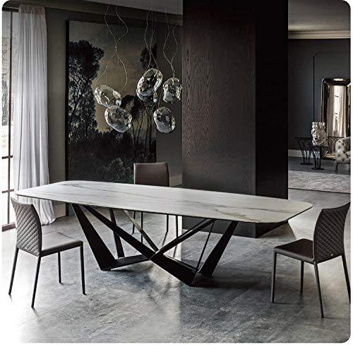 LGFSG Conjunto de Mesa Juego de Comedor de Acero Inoxidable Home rectangulo Minimalista Moderna Mesa de Comedor de marmol y 6 sillas, Blanco