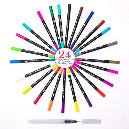- 24 Watercolor Non Toxic Dual Tip Marker Pens, Fineliner and Nylon Brush Tip, Travel Case and Free Blending Brush for Coloring Books, Bullet Journaling, Calligraphy, Drawing, Sketching, Art Projects