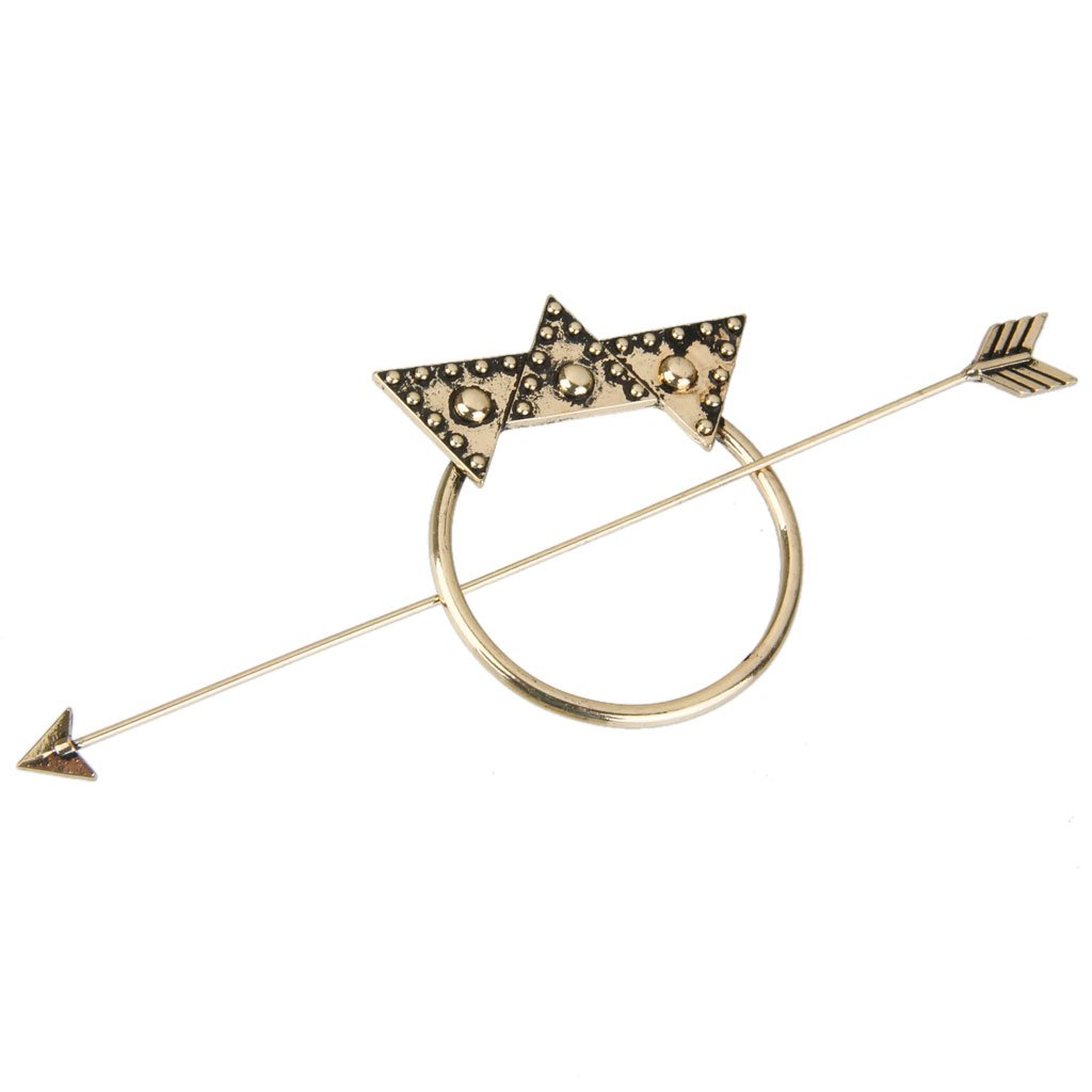 MagiDeal Vintage BOHO Star Arrow Dot Triangle Updo Hoop Hair Pin Clip Stick - Antique Brass STK0156001359