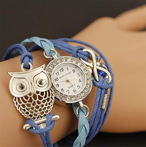 Woman Quartz Watch Pu Braided Hand Rope Stylish Luxury Diamond Retro Punk Style Alloy Casing 30atm Waterproof Suitable for Girls Special Birthday Present,1blue