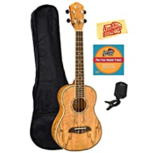 Oscar Schmidt by Washburn OU7T Long Neck Tenor Ukulele Bundle with Gig Bag, Tuner, and Polishing Cloth - Spalted Mango Top, Back, and Sides