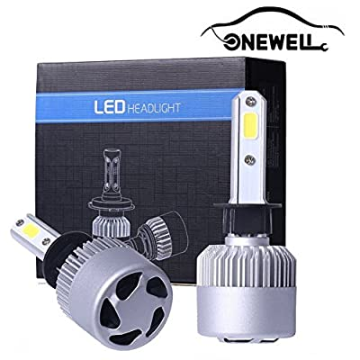 LED Headlight Bulbs Conversion Kit, Onewell 2PCS Advanced COB Chips IP68 Waterproof 60W 6000LM 6000K Super Bright Cool White