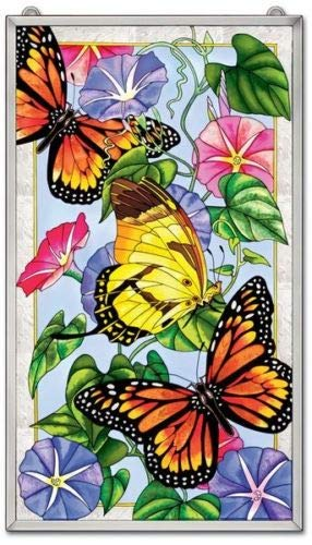 Stained Glass 13'' X 23'' Suncatcher Lightness Butterfly Window Panel
