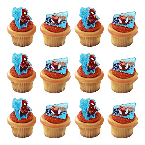 Spiderman Web-Slinger Rings, 12 Pack Cupcake Toppers, Two Designs, Christmas Cake Decorations for Kids Birthday Party Favors. -
