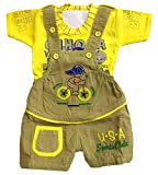 Miss U Baby Boys Baby Girls Kids High Quality Soft Denim Dungaree Set With T-Shirt (YELLOW, 12-18 Months)