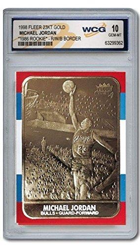Michael Jordan Fleer Limited Edition RED/White/Blue 1986 Rookie WCG GEM MT 10 23KT Gold Card!
