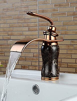 LONG Imitation jade Rose Gold Waterfall Bathroom Sink Faucet (Short)