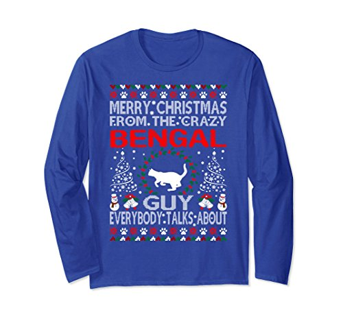 Unisex Merry Christmas Bengal Cat Guy Ugly Sweater Tshirt Small Royal Blue