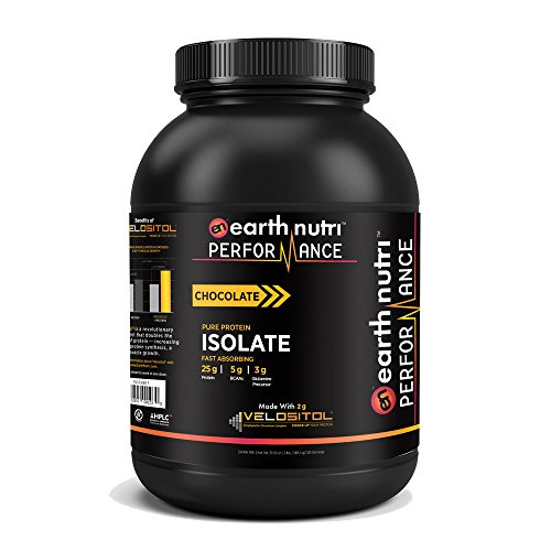 EarthNutri Performance Pure Whey Protein Isolate Powder with 2g of Velositol, 25g of Protein, 5g of BCAAs, 3g of Glutamine Precursor, No Whey Concentrate, No Proprietary Blends, 2lb. Tub (Chocolate)