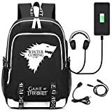 AUGYUESS Luminous Game of Thrones Backpack School Bag Daypack Bookbag Laptop Bag with USB Charging Port