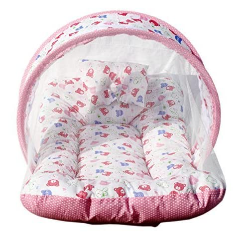 PK Toddler Cotton Mattress with Mosquito Net for Baby with Bed (Pink)
