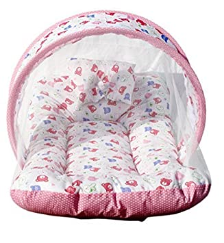 PK Contemporary Baby Cotton Bedding Set with Mosquito Net (0 to 12 Months, Lovely Pink)