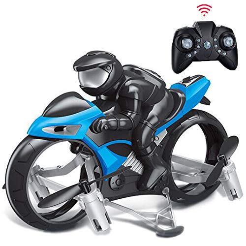 Rc Cars,YF-TOW Rc Car Racing 2-in-1 Land/Air Mode One Key Switch Flying Motorcycle 2.4G RC Drone Quadcopter Fly Gift for Children, Boys and Girls. (Blue)