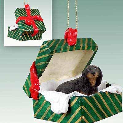 Dog Green Gift Box - Dachshund Green Gift Box Dog Ornament - Longhair - Black & Tan