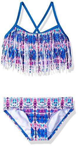 (Kanu Surf Little Girls' Kelly Beach Sport Fringe 2-Piece Bikini Swimsuit, Kayla Pink/Blue Tie-Dye,)
