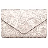 Fashion Road Evening Clutch, Women Floral Lace Envelope Clutch Purses, Elegant Handbags For Wedding And Party Apricot