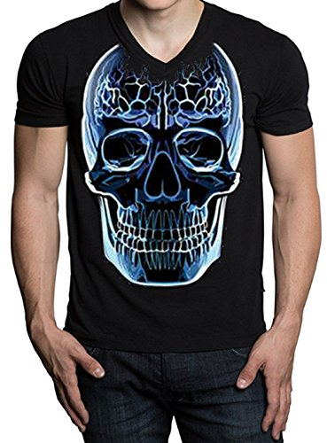 Scary Glass Skull Men's V-Neck T-Shirt Black S-2XL (2XL, Black)