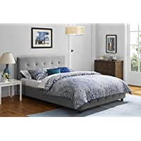 DHP Rose Linen Tufted Upholstered Platform Bed, Button Tufted Headboard and Footboard with Wooden Slats, Queen Size - Grey