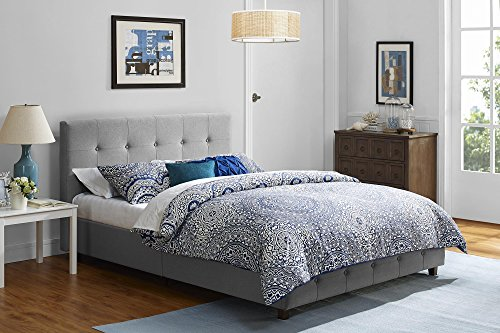 DHP Platform Bed, Rose Linen Tufted Upholstered Platform Bed – Includes Button Tufted Upholstered Headboard and Footboard, Queen Platform Bed - Grey by DHP