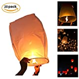 Sky Lanterns,Bagvhandbagro Chinese Wishing Lanterns,20Pcs White Paper Lanterns,Fully Assembled, 100% Biodegradable, New Designed Sky Lanterns For Birthdays, Ceremonies, Weddings And More