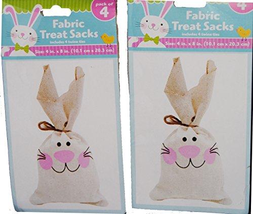 Easter Bunny Fabric Treat Sacks 8 pk (Treat Bags Sacks)