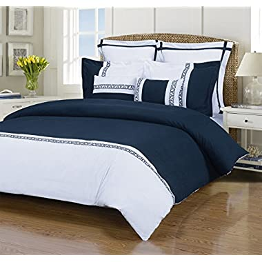 Emma 7-Piece, Wrinkle Resistant, King/California King Duvet Cover Set, White/Navy Blue