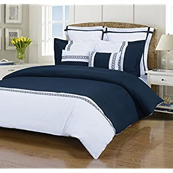 emma 7piece wrinkle resistant king duvet cover set whitenavy blue