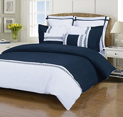 Emma 7-Piece, Wrinkle Resistant, King/California King Duvet Cover Set, White/Navy Blue ()