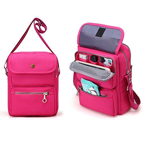 Price comparison product image Crossbody Bag for Women,  JOSEKO Multi-Pocketed Nylon Shoulder Bag Purse Travel Passport Bag Messenger Bag (7.87''(L) x 2.76''(W) x 10.24''(H),  Rose)