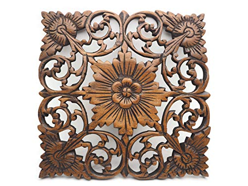 30 X 30 cm Thai Lotus Flower Carved Relief Panel Teak Wood Wall Hanging Wood Wall Art, Elephant Wall Art Sculpture Dark Brown Art Craft