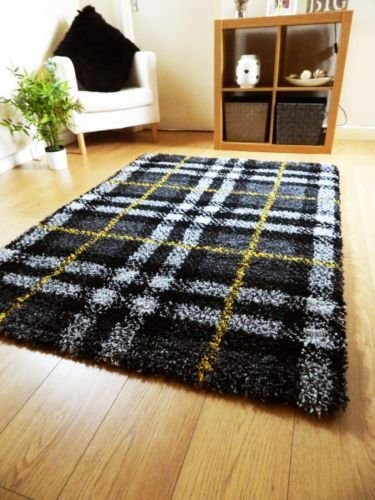 Rugs Superstore New Modern Soft Shaggy Rug Black Yellow Silver Grey