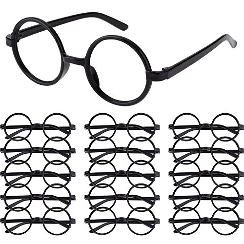 Shappy 16 Pack Plastic Wizard Glasses Round Glasses Frame No Lenses for Halloween Costume Party Supplies (Black) ()