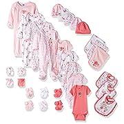 Gerber Baby Girls 30 Piece Essentials Gift Set, Lil' Flowers, 0-3M: Onesies/Sleep 'n Play/Sock/Mitten, 0-6M: Gown/Cap, 0-6 Months One Size: Bib/Burp