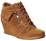 shoewhatever Pl Hi-top Wedge Lace-up Sneaker (9, tanGL) [Apparel]