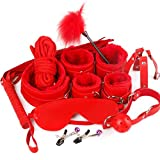 Under the Bed Restraints Kits,10pcs,Couple Sexy Toy Stuffed Whips Special Toy Harness Handcuff Restraint Kit,red