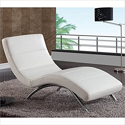 Amazon.com: Global Furniture Ultra Bonded Leather/Metal Chaise ...