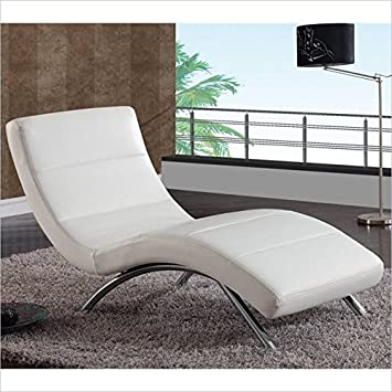 global furniture ultra bonded chaise lounge with whitechrome legs