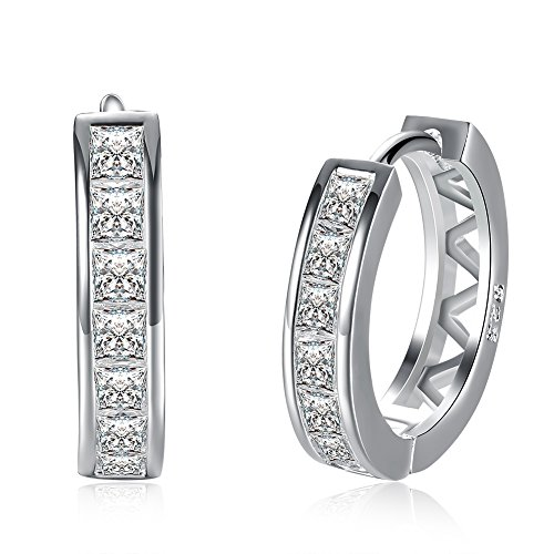 18K White Gold Plated Cubic Zirconia Round Hoop Earrings for Women Teen Girls Silver Earrings Jewelry (A2.Diamater 18mm / Sterling Silver Plated)
