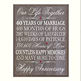 LifeSong Milestones 40th Wedding Anniversary Wall Plaque Gifts for Couple, 40th Anniversary Gifts for Her,40th Wedding Anniversary Gifts for Him 12'' W X 15'' H Wall Plaque By (Barnwood)
