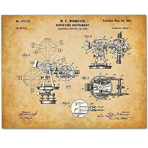 Surveying Instrument - 11x14 Unframed Patent Print - Makes a Great Gift Under $15 for Surveyors, Contractors or Architects