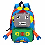 TeMan Children Backpack Kindergarten Cartoon Schoolbag for Kids (Green Robot)