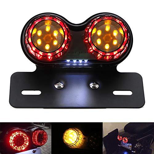 iJDMTOY Universal ZUMA Afterburner Style Smoked Lens Full LED Taillight Turn Signal License Plate Lamp Assy For Yamaha Suzuki Kawasaki Honda Bike Scooter, etc
