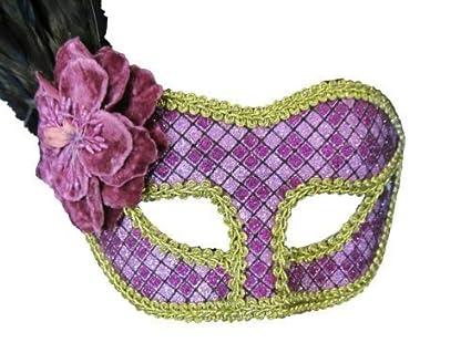Señoras para mujer Unisex morado y dorado con plumas extravagante veneciano Full Masquerade Ball Fancy Dress
