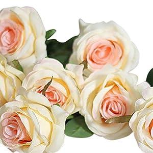 Qsbai 1Pc 1 Head Lifelike Artificial Faux Silk Rose Fake Flower Wedding Bridal Decor - Champagne 113